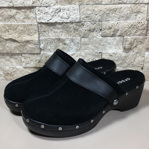 f51235684 CROCS Shoes - Crocs Shoes Size 8 Black Leather Heels Clogs Mules